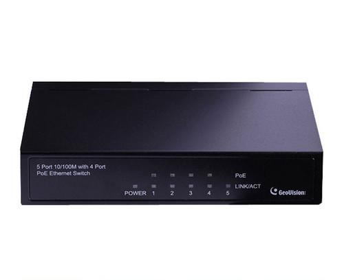Geovision GV-POE0400 5-Port 10/100 POE Fast Ethernet Switch - 4-Port POE, 70W POE power budget, 2 Year Warranty