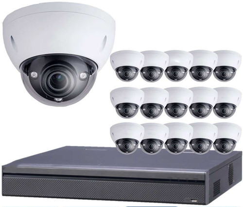 16-Camera 4K Indoor/Outdoor Motorized Dome IP Security Camera System
