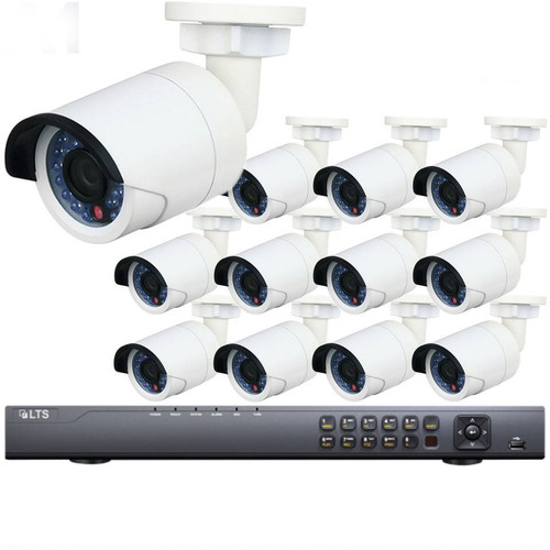 12-Camera Bullet IP Security Camera System 1080p 2MP - 100ft. Night Visibility, Plug and Play Setup, 3TB Video Storage, LTN8712-B2F