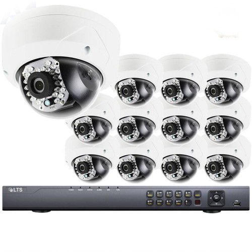 12-Camera Dome IP Security Camera System 4MP - 2.8mm Fixed Lens, 100ft Night Visibility, WDR, 3TB of Storage, LTN8712-D2F