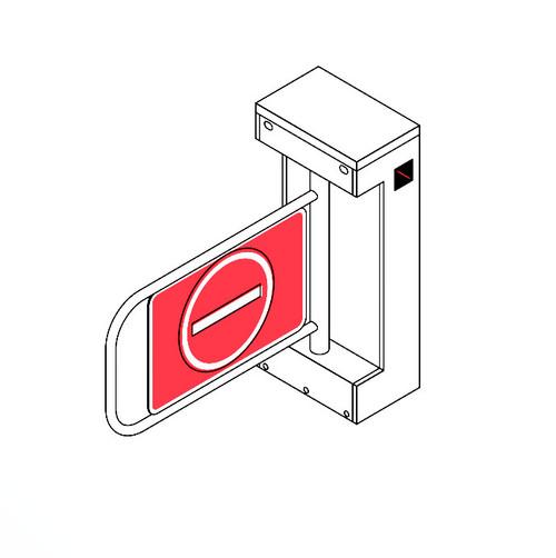 SWG-28 Swing Gate Turnstile - Both Directional Motorized for Pedestrian Traffic Control, Plexiglas, Stainless Steel Arm