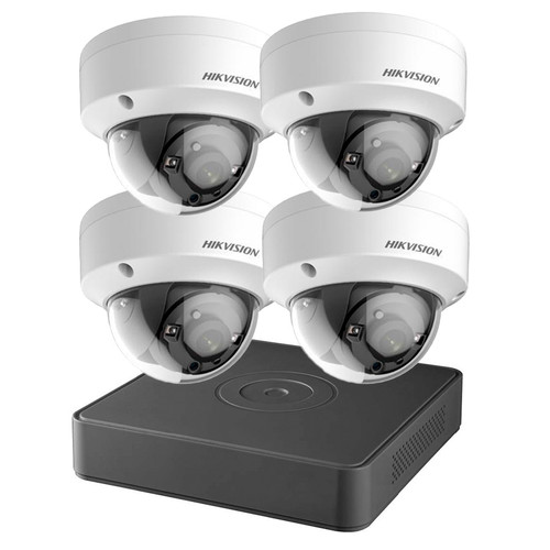 Hikvision T7104Q1TB 4-Channel 1TB DVR 4x 2MP IR Dome Cameras with 1TB CCTV Analog Security Camera System