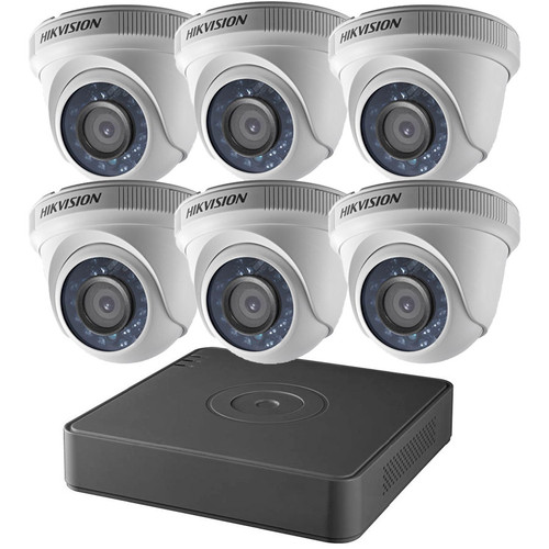 Hikvision T7108Q2TA 8-Channel 2TB DVR 6x 2MP IR Turret Cameras with 2TB CCTV Analog Security Camera System