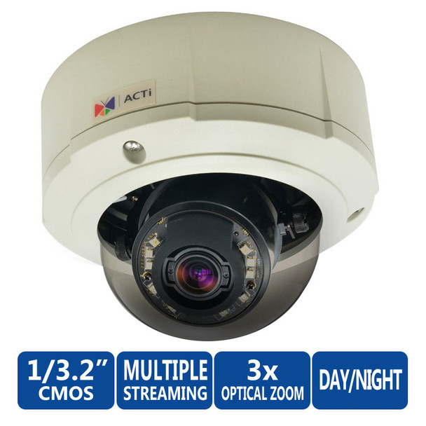 ACTi B81 Outdoor 5MP IR Dome Network Camera - Zoom lens