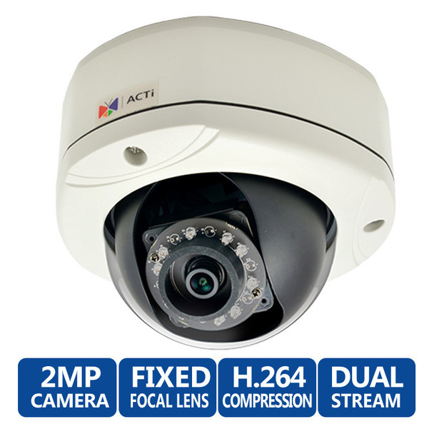 ACTi E76 1080p HD Outdoor IR Dome IP Security Camera, WDR, 3.6mm lens