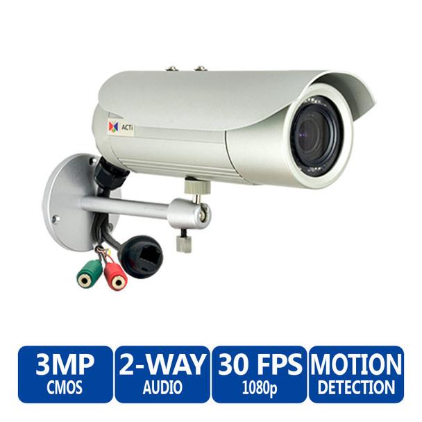 ACTi D42A 3MP IR Outdoor Bullet IP Security Camera - 2.8-12mm Varifocal Lens