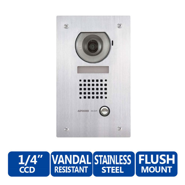 Aiphone AX-DVF Vandal-Resistant Stainless Steel Flush-Mount Color Video Door Station