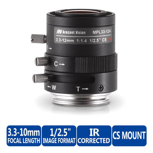 """Arecont Vision MPL33-12A 3.3~10mm Varifocal CCTV Lens - CS-Mount, Manual Iris, 1/2.5"""", F/1.6"""