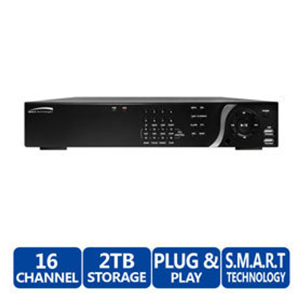 Speco N16NSP2TB 16-Channel Plug & Play Network Video Recorder - Built-In PoE Switch