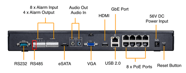 Vivotek ND8422P 16 Channel Network Video Recorder - 8 PoE Ports, No HDD Included
