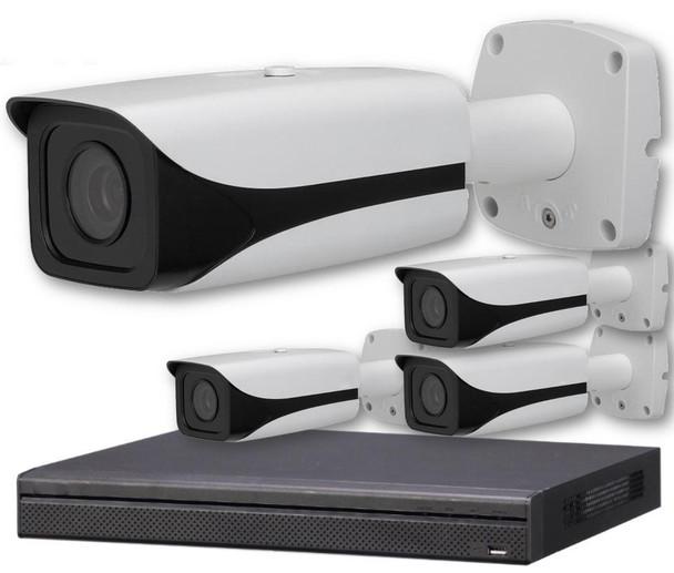 4-Camera 4K Indoor/Outdoor Motorized Bullet IP Security Camera System