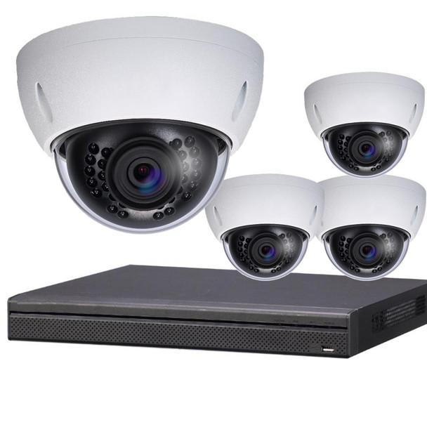 4-Camera 4K Indoor/Outdoor Dome IP Security Camera System