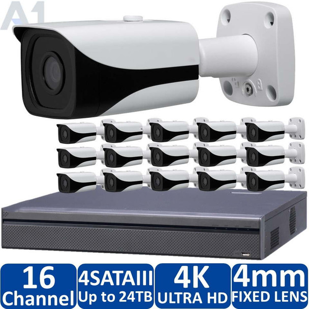 16-Camera 4K Indoor/Outdoor IP Security Camera System