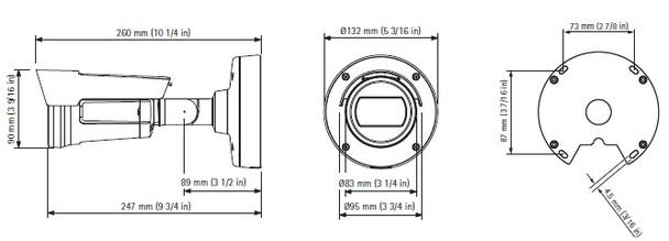Axis P1435-E Outdoor Bullet IP Security Camera Dimension