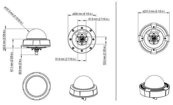 AXIS Q3709-PVE Multi-Sensor IP Dome Security Camera Dimension