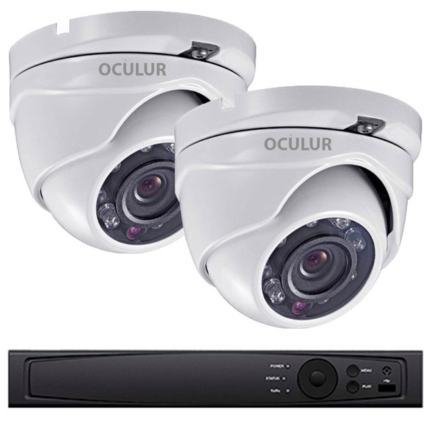 2-Camera 1080p Full HD Turret Outdoor CCTV Security Camera System - Night Vision, True Day/Night, Weatherproof