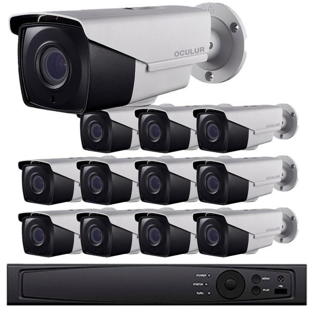 12-Camera 2MP HD CCTV Bullet Security Camera System - 16 Channel DVR, 2.8~12mm Motorized Lens, Night Vision, Weatherproof, 2TB Pre-installed