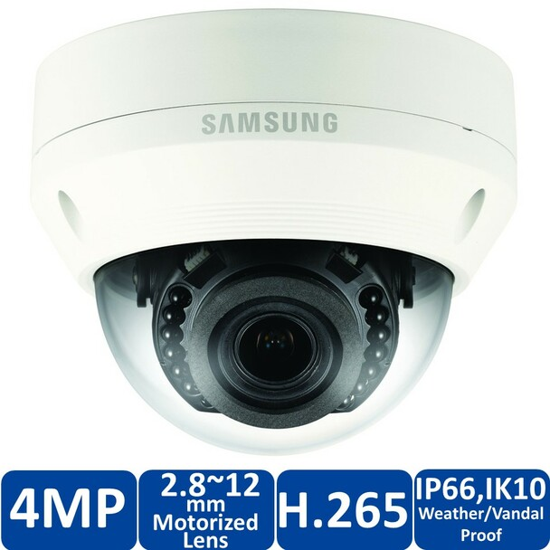 Samsung Hanwha QNV-7080R 4MP IR H.265 Outdoor Dome IP Security Camera with 2.8~12mm Motorized Lens