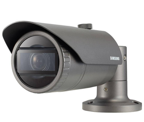 Samsung QNO-6070R 2.1MP IR H.265 Outdoor Bullet IP Security Camera - 2.8~12mm Motorized Lens, 30fps at 1080P