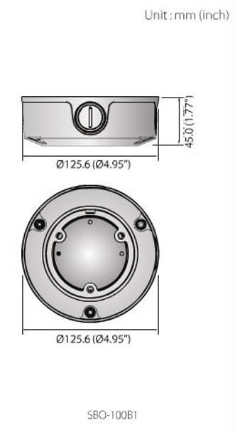 Samsung SBO-100B1 Aluminum Backbox for Bullet Cameras Dimensions