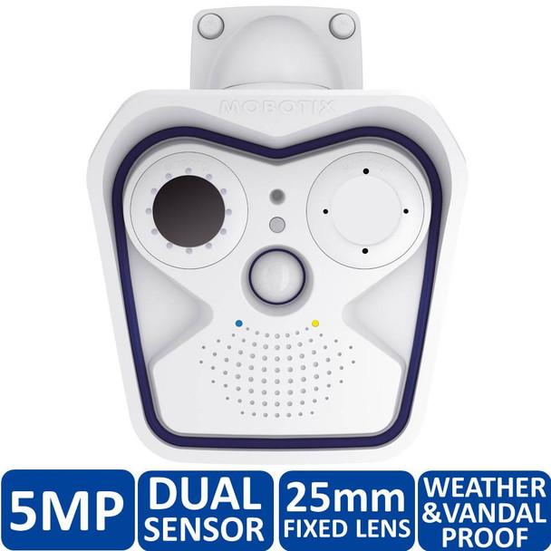 Mobotix MX-M15D-Sec-DNight-D160N160-F1.8 5MP Indoor/Outdoor Dual Sensor Dome IP Security Camera - 25mm Fixed Lens, 4GB Card Pre-Installed