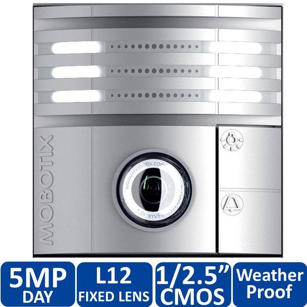 Mobotix MX-T25M-SEC-D12-SV 5MP T25 IP Video Door Station - L12 Hemispheric, Day, Microphone, Speaker, Weatherproof, Silver-colored