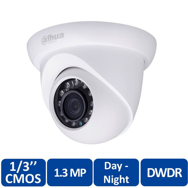 Dahua DH-IPC-HDW11A0SN 2.8mm Eyeball IP Security Camera - 1.3MP @ 30fps, Fixed Lens, Outdoor, 12 IR LEDs