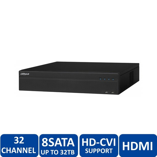 Dahua DHI-HCVR58A32S-S2-4TB 32 Channel Tribrid 720P-Pro 32-Channel Tribrid 2U HDCVI DVR (4TB HDD) - HDMI/VGA, 720p/1080p, 8 SATA up to 32TB