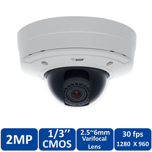 Axis P3364-VE 6mm 1MP HDTV Outdoor Dome IP Security Camera - 0482-001