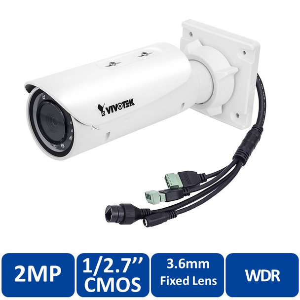 Vivotek IB836BA-HF3 2MP IR Outdoor Bullet IP Security Camera - 3.6mm Fixed Lens, WDR Pro