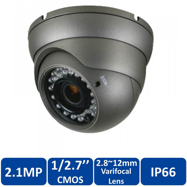 2.1 Megapixel InfraRed for Night Vision Indoor and Outdoor Turret HD-TVI Security Camera, Weatherproof, 2.8~12mm Varifocal (Manual Zoom) Lens, CMHT2023RB-A