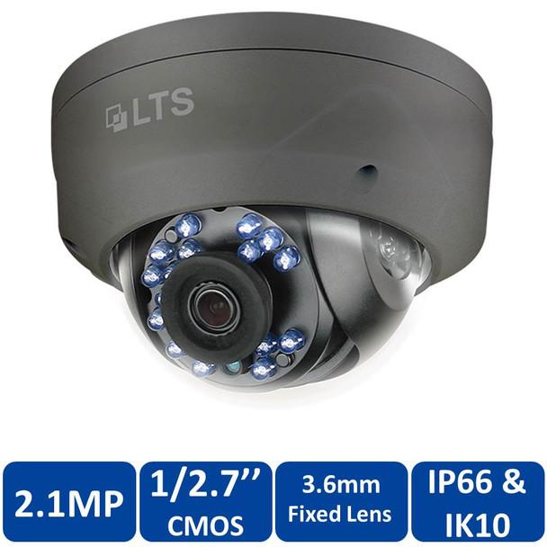 LTS CMHD7422B 2MP Outdoor IR Dome HD-TVI Security Camera - 3.6mm Fixed Lens 1080p Full HD, Energy Efficient, Smart IR, Vandal Proof, Black
