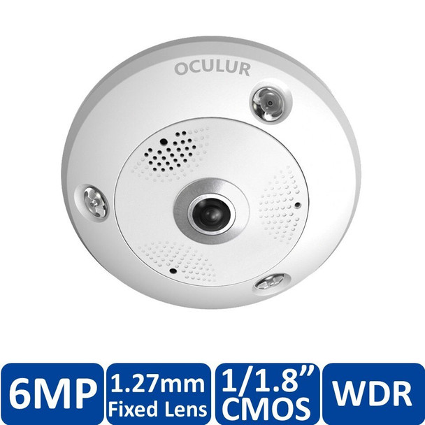 Oculur X6FE 6MP Outdoor Panoramic Fish Eye IP Security Camera with Built-in Mic and Speaker