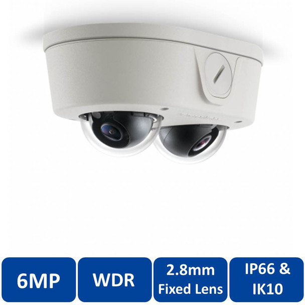 Arecont Vision AV6656DN-28 6MP Microdome Indoor/Outdoor IP Security Camera - 2.8mm Fixed Lens, SNAPstream, Weatherproof, Vandal Proof, WDR