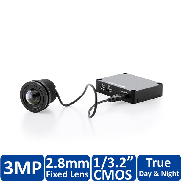Arecont Vision AV3196DN 3MP MegaVideo Flex Discreet Indoor/Outdoor Modular IP Security Camera - Remote Focus, SD Slot, WDR, PoE