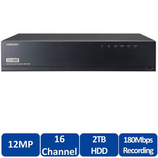 Samsung XRN-1610-4TB 16 Channel 4K Network Video Recorder - H.265, H.264, MJPEG, Max. 8HDD, HDMI / VGA local monitor