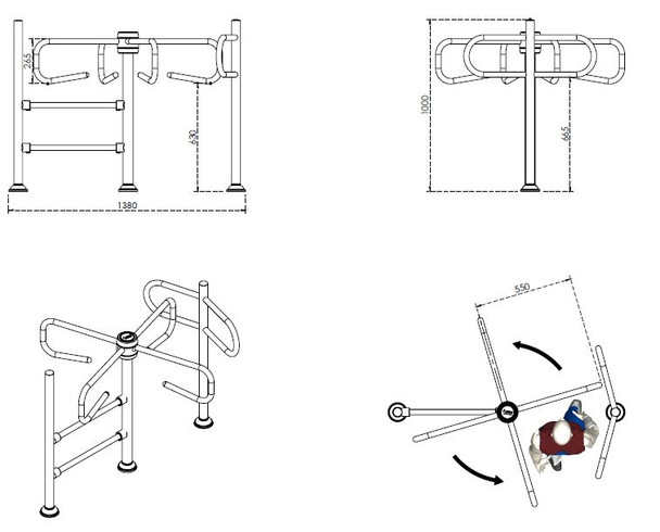 Paddle One-direction Turnstile TS-Paddle Dimensions