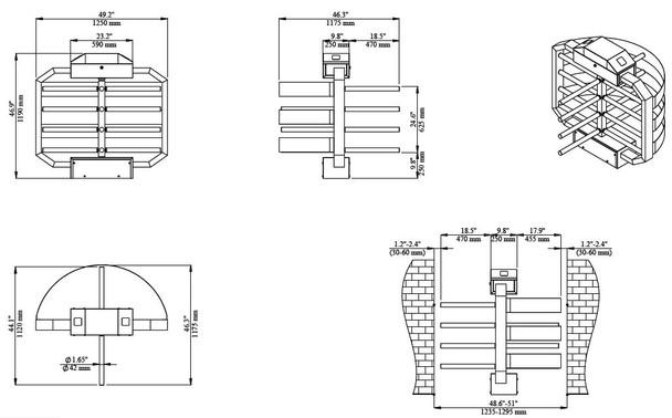 Half Height Turnstile TS-1250 Dimensions