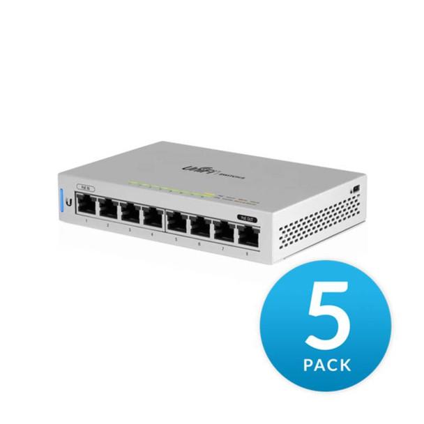 Ubiquiti US-8-5 UniFi Fully Managed Gigabit Network Switch - 5-Pack, 8-Port, 16 Gbps Switching Capacity
