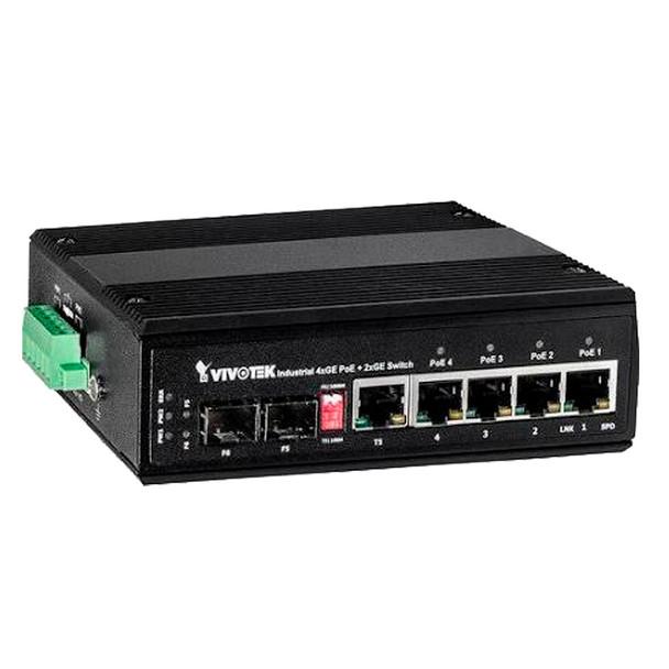 Vivotek AW-IHT-0601 Industrial Unmanaged PoE Switch - 1-Port SFP, 4-Port PoE