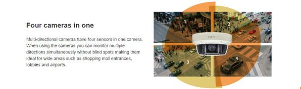 Samsung Hanwha PNM-9081VQ 20MP H.265 Multi-sensor Outdoor Dome IP Security Camera