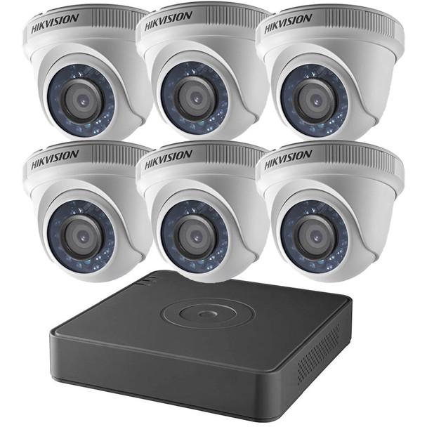 Hikvision T7108Q2TA 8-Channel 2TB DVR 6x 2MP IR Turret Cameras CCTV Analog Security Camera System