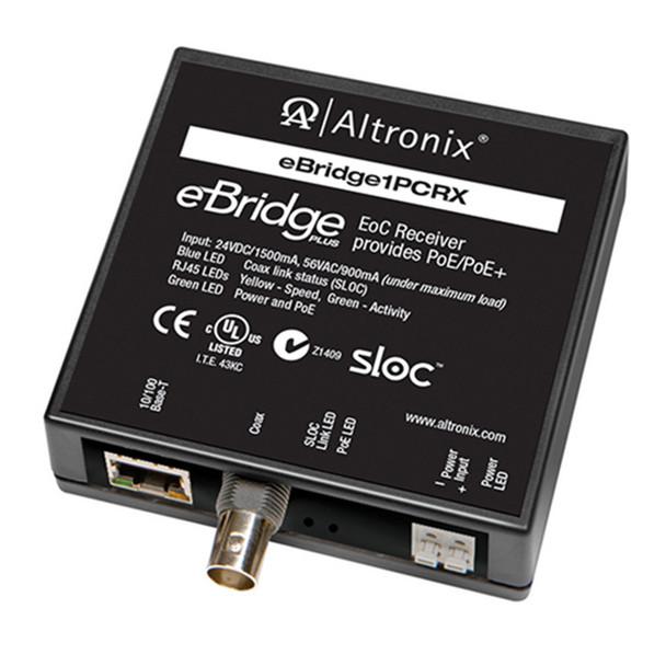 Altronix EBRIDGE1PCRX IP and PoE+ over Coax Receiver