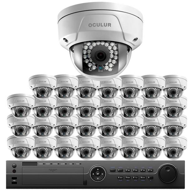 Oculur 32-Camera 4MP Dome IP Security Camera System SO32C4DF - 4K 32Ch NVR, 4TB HD Storage