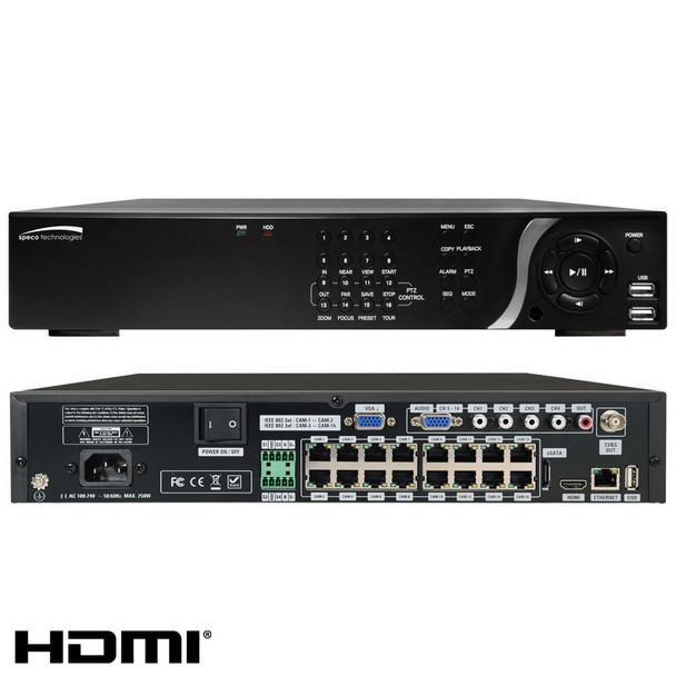 Speco N16NSF4TB 16 Channel Network Video Recorder - 4TB HDD included, Built-in PoE, Plug and Play