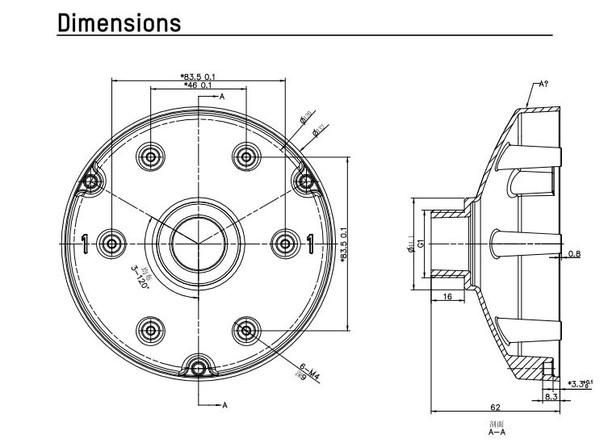 Hikvision PC130TB Pendant Cap for Mini Turret Camera (Black)
