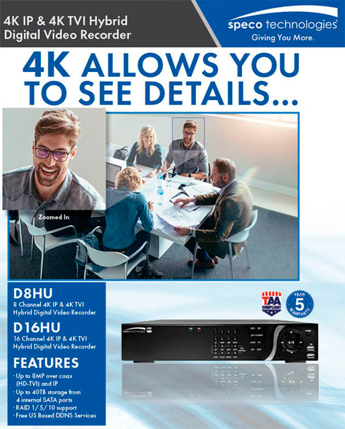 Speco D16HU1TB 16 Channel 4K IP/HDTVI Hybrid Video Recorder - 1TB HDD included