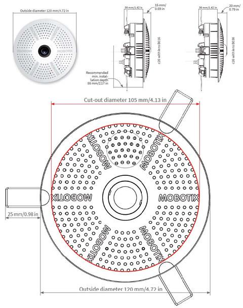 Mobotix MX-C26-6D016 6MP Indoor Fisheye IP Security Camera - Day
