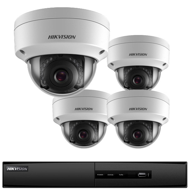 Hikvision I7604N1TA 4-Camera Outdoor IP Security Camera System - 4-Ch NVR, 2MP, 1TB HDD, IR