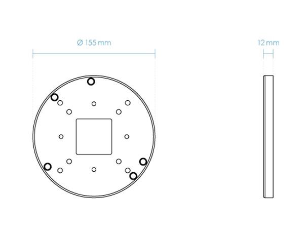 "Vivotek AM-51C_V01 Adapting Plate for 4"" Electrical Box & Single Gang Box"